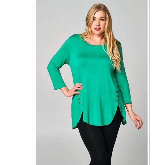 9b89e8f382d 1X Plus Size Green Blouse Top Shirt Button